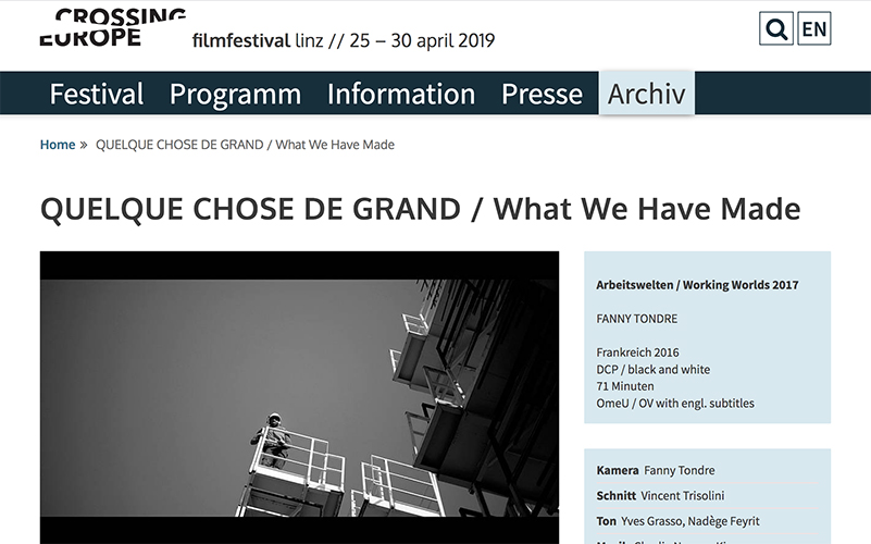 CROSSING EUROPE FESTIVAL, Linz Lire